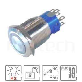 雙色復歸LED金屬按鈕開關19mm MP19-6MF