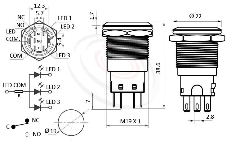 MP19-7MF Series概略尺寸圖,標示LED照光金屬開關,帶燈天使眼金屬按鈕的外型長度,平面,各式尺寸長度可靈活應用,防破壞防暴開關Vandal Resistant Switches, metal button switch金屬不鏽鋼按鍵 IP67防水防塵、耐腐蝕,可對應於J19,MPB19,MPS19,MW19,HK19B,HKYB19B,EJ19,GQ19,LAS1-BGQ,LAS1-AGQ,LAS1GQ,lb19b,qn19,pbm19,cmp,bpb,mp19n,ft-19平面,材質-黃銅,鋁合金,不銹鋼
