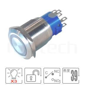 MP19-7MF Series-LED帶燈照光金屬開關,天使眼防水按鈕IP防水、IK防破壞、耐腐蝕,,19mm,外徑22mm,,1NO1NC1COM,自複自復,平頭,紅藍綠三色,RGB獨立顯示,共陰極或共陽極接線,圓形燈平柄同等於GQ19,LAS1-BGQ,LAS1-AGQ,LAS1GQ,pbm19,J19,EJ19,cmp,bpb,MPB19,MPS19,MW19,HK19B,HKYB19B,mp19n,ft-19,lb19b,qn19,材質-不鏽鋼,黃銅鍍鎳,鋁合金,復位無段 IP67防水、IK08防塵、耐腐蝕| MP16TECH提供您最完整的防水金屬按鈕開關產品與服務