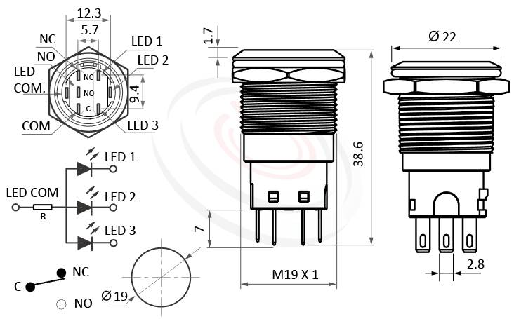 MP19-7ZF Series概略尺寸圖,標示天使眼金屬按鍵按鈕開關,LED防水開關的外型長度,,平圓形,各式尺寸長度可靈活應用,金屬防水按鍵開關,Vandal Resistant Switches,waterproof pushbutton,metal button switchIP65以上防水等級,可對照於MPB19,MPS19,MW19,HK19B,HKYB19B,GQ19,J19,EJ19,LAS1-BGQ,LAS1-AGQ,LAS1GQ,pbm19,cmp,bpb,mp19n,ft-19,lb19b,qn19平圓形,材質-鋁合金,不鏽鋼,黃銅