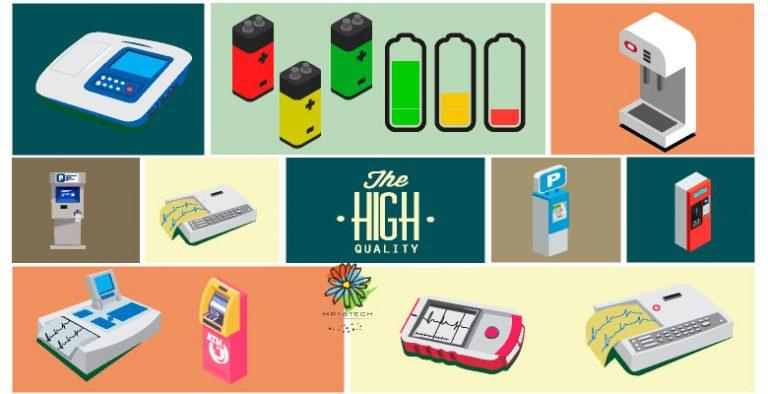 圖片顯示多色LED金屬按鈕開關的可能應用產品,包含 : 電池驅動模組,電動單車、電動機車、醫療/醫美/美容設備儀器、檢測儀器、KIOSK、咖啡機、小家電、AOI辨識檢測系統 以及需要直覺顯示多種燈色的設備儀器。