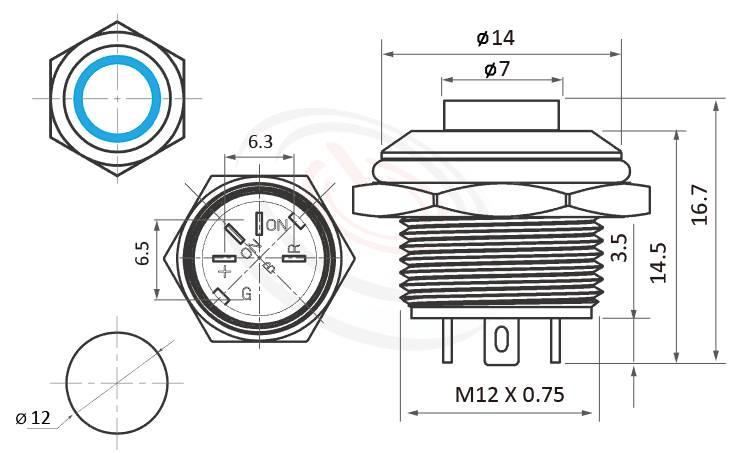 MP12T-4MH Series概略尺寸圖,標示凸柄帶燈薄型金屬按鈕開關,LED不鏽鋼按鍵的外型長度,薄形、短形,縮小體積,縮短高度,高圓形,IP65以上的防水等級 | MP16TECH提供您最完整的防水金屬按鈕開關產品與服務IP65以上防水等級,pbm12,cmp,bpb,MPB12,HK12B,HKYB12B,GQ12,LAS4GQ,J12,EJ12,mp12n,ft-12,lb12b,qn12,不鏽鋼金屬開關,材質-黃銅,鋁合金,不銹鋼