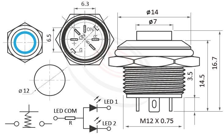 MP12T-5MH Series概略尺寸圖,標示凸柄高平面12mm按鈕開關,双色LED金屬防水按鈕的外型長度,兩種燈色LED紅綠、紅藍雙色,共陰極共負極接線,共陽共正極出線,扁型薄型,高平面,IP65以上的防水等級   MP16TECH提供您最完整的防水金屬按鈕開關產品與服務 IP67防水防塵、耐腐蝕,GQ12,LAS4GQ,pbm12,cmp,bpb,mp12n,ft-12,J12,MPB12,HK12B,HKYB12B,lb12b,qn12金屬外殼不鏽鋼按鈕,材質-不鏽鋼,黃銅鍍鎳,鋁合金