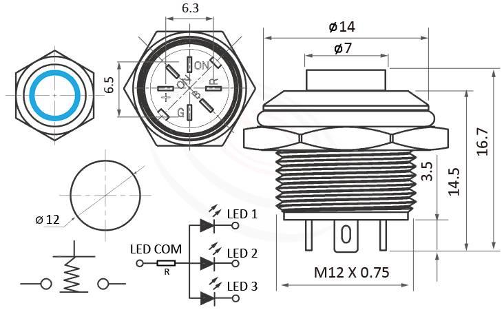 MP12T-6MHRGB Series概略尺寸圖,標示照光式LED金屬按鈕,LED 天使眼開關的外型長度: 三色LED環形燈,高柄凸柄按鍵,共陰極接法或共陽極接法,輕薄短小,突起的按柄即使面積小的12mm按鈕開關也能輕易按下,高平形,IP65以上的防水等級 | MP16TECH提供您最完整的防水金屬按鈕開關產品與服務防水/防塵/防暴,GQ12,LAS4GQ,pbm12,cmp,bpb,mp12n,ft-12,J12,MPB12,HK12B,HKYB12B,lb12b,qn12平面,材質-黃銅,鋁合金,不銹鋼